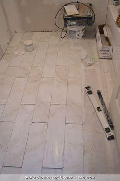 BiancoTiled Bathroom Floor Progress (Plus A Few Tiling Tips)