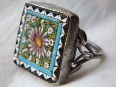 Beautiful Antique Hand Crafted Mosaic and Sterling Silver Ring