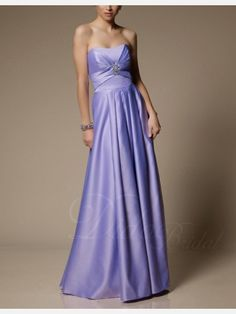 Orchid Pleated A-line Strapless Floor-length Satin Bridemaid Dress - Didobridal