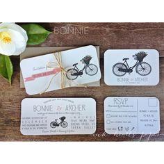 rustic vintage wedding invitations with bike bicycle floral, twine