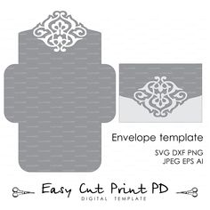 Wedding Envelope Template Instant Download cutting file (svg dxf ai eps png pdf) printable paper cut scrapbook Silhouette Cameo Cricut