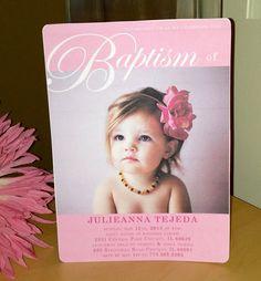 5 x 7 Baby Girl Baptism Invitation by DesignMeSweet on Etsy, $2.25