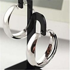 #giftlocal...Thick Fashion Bright Shiny Glaze Silver Plated Big Circle Hoop Earrings
