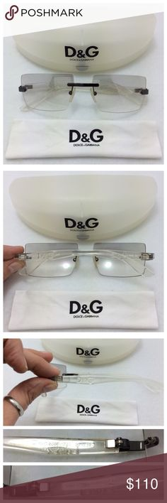 Dolce & Gabbana Sunglasses D&G 2067. Rare Rimless Sunglasses with clear rectangular lenses, slight reflective finish. Clear arms with subtle logo. Comes with original case and cleaning cloth. Great, preloved condition, no scratches. Dolce & Gabbana Accessories Sunglasses