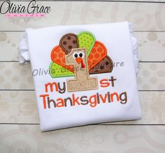 My First Thanksgiving,Boys Thanksgiving, Boys Turkey Shirt, Embroidered Applique Bodysuit or Shirt by OliviaGraceCouture on Etsy Halloween Shirts Kids, Holidays Halloween, First Thanksgiving, Thanksgiving Outfit, Holiday Outfits, Holiday Clothes, Sewing Appliques, Embroidered Clothes, Cute Outfits For Kids