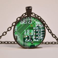 Green Circuit Board Art Print Pendant Necklace by RiverwalkDesigns, $7.95