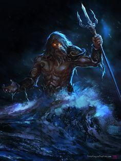 Poseidon, the God of Water, and other seas. He raped Medusa, causing Athena to become enraged. Poseidon Tattoo, Zeus Poseidon Hades, Greek Mythology Tattoos, Greek And Roman Mythology, Titans Greek Mythology, Dark Fantasy, Fantasy Art, Fantasy Creatures, Greek Gods
