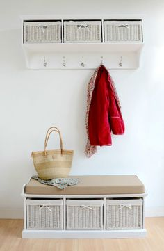 Tetbury white bench with cushion and storage baskets. Tetbury white coat rack with storage baskets. This stunning bench comes with cushion and is available in 2 sizes; two basket storage bench and three basket storage bench. | eBay!