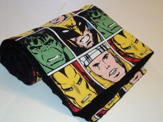 Minky Marvel Superhero Blanket, Minky and Cotton, Super Heroes Baby Blanket, Toddler Blanket, Childs Blanket, Iron man, The Hulk, Luxurious. $32.00, via Etsy.