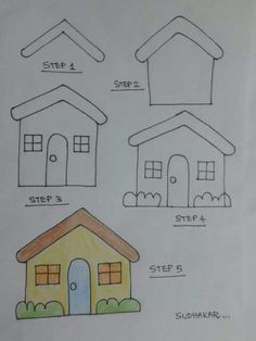 Draw house step by step House Drawing For Kids, Drawing Lessons For Kids, Drawing Tutorials For Kids, Easy Drawings For Kids, Cool Drawings, Art Lessons, Basic Drawing, Step By Step Drawing, Painting For Kids