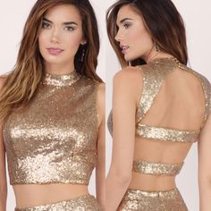 """Tobi """"Last Kiss"""" Gold Sequins Crop Top Brand new, worn once. Lined on the inside with cotton, so it's comfortable. Three button closure at the back of neck, and back hook and eye closure for the straps across the back. High neck crop top. Will post on Ⓜ️ercari if wanted. Perfect for NYE Tops Crop Tops"""