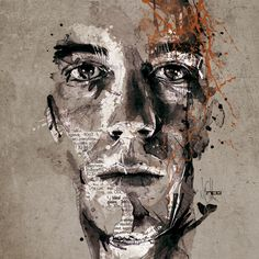 Mixed Media Portraits by Florian Nicolle watercolor portraits illustration > I like it.