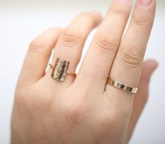 Gold Rectangle Ring Simple Hammered Ring Minimalist Ring
