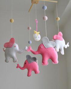 Baby girl crib elephant mobile kids room decor by GetaHandmadeGift, $89.99