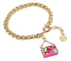 Vera Bradley Handbag Charm Bracelet in Pink Swirls