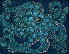 Octopus original painting 16x20 marine by DreamtimeStudios on Etsy