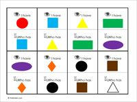 I have ... , Who has ... ?  Color and shape recognition game