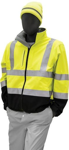 Majestic 75-1371 Hi Vis Yellow Soft Shell Jacket ANSI Class 3 Black Bottom