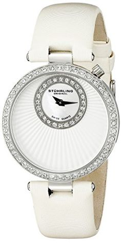 Stuhrling Original Womens 59701 Vogue Audrey Radiance Swiss Quartz MotherOfPearl Swarovski Crystal White Strap Watch -- You can get additional details at the image link. (This is an Amazon affiliate link)