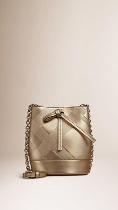 Gold The Baby Bucket in Embossed Check Leather - Image 1