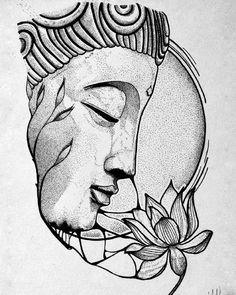 Buddha Drawing, Buddha Painting, Buddha Art, Cool Art Drawings, Art Drawings Sketches, Tattoo Sketches, Tattoo Drawings, Arte Krishna, Photographie Street Art