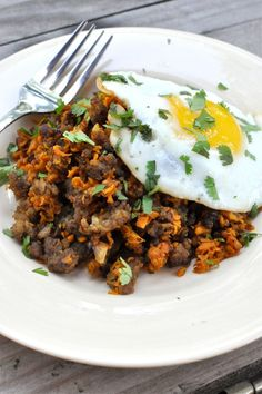 Paleo Sweet Potato Breakfast Hash - would use our own deer or elk burger but it sounds delicious!