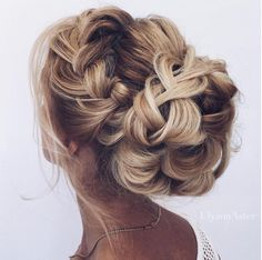 Big bun braid wedding hair inspiration #wedding #hair #hairstyle Instagram/ulyana_aster