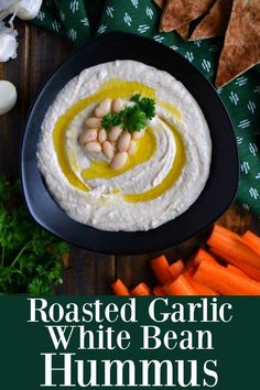 Roasted Garlic White Bean Hummus - full of flavor this white bean hummus is extremely creamy and easy to make using just 5 ingredients Healthy Snacks, Healthy Recipes, Healthy Appetizers, Meal Recipes, Potato Recipes, Vegetable Recipes, Delicious Recipes, Vegetarian Recipes, Dinner Recipes