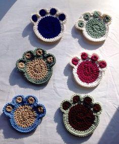 Paw Print Coasters Set of Four, Dog Coasters, Cat Mug Rug, Paw Print Drink Holder, Gifts for Cat Lovers and Dog Lovers Crochet Gifts, Hand Crochet, Dog Crochet, Cat Coasters, Crochet Cup Cozy, Animal Rug, Crochet Dishcloths, Dog Crafts, Easter Crochet