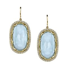 Aqua sliced earrings set in yellow gold with a diamond border