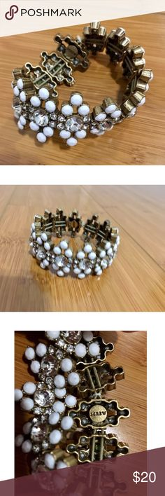 White Stretchy J. Crew Cuff Excellent condition. Very stylish bracelet with beautiful stones. No longer made by designer, cannot be found in stores or online. J. Crew Jewelry Bracelets