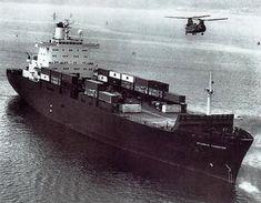 Atlantic Conveyor embarking a Chinook in the UK