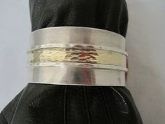 Sterling with gold accent cuff bracelet   can be by MyRedFlamingo, $69.99
