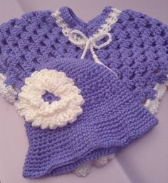 Poncho and Hat Set Hand-Crocheted. $25.00, via Etsy.