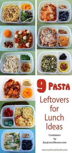 A collection of 9 different #pasta #recipes. Ideas for packed lunch, dinner, or anytime. A great way to enjoy #leftovers the next day. Packed in /easylunchboxes/