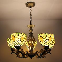 Euro Style Sunflowers  5 Lamps Tiffany Chandelier | GbTiffany - Buy Tiffany Lamps From China