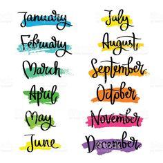 Conjunto de rótulos de os meses do ano. vetor e ilustração royalty-free royalty-free