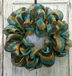 Black Gold Turquoise Mesh Wreath Sample Sale