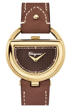 Salvatore Ferragamo 'Buckle' Leather Strap Watch, 37mm available at #Nordstrom