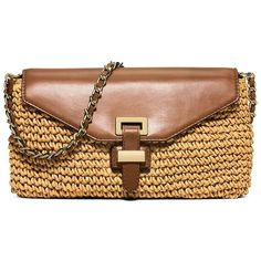 MICHAEL MICHAEL KORS Woven Paper Straw Convertible Clutch ($210) ❤ liked on Polyvore featuring bags, handbags, clutches, apparel & accessories, walnut, braided purse, beige handbags, zipper purse, woven handbags and michael michael kors handbags