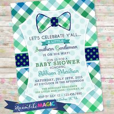 Southern Gentleman Baby Shower Invite Southern by DreamlikeMagic