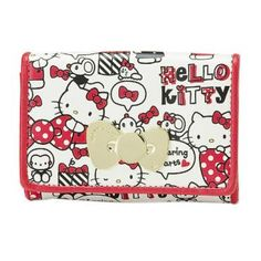 Hello Kitty Card Case Name ID Cards Holder Ribbon Sharing Hearts Sanrio Japan Exclusive