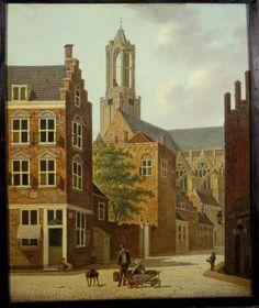 De Pausdam en Achter de Dom in Utrecht (ca. 1820), Hendrik van Oort. Links op de voorgrond het huis op de hoek van Trans en Achter de Dom met gevelsteen, waarin het jaartal 1623; daarachter het Stedelijk Politiehuis (nu deel van het Academiegebouw). Op de achtergrond de Dom.