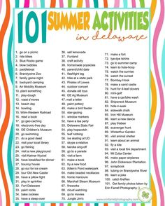 101 family activities in delaware, comment on facebook link to receive free printable list, summer bucket list @erinfarrellphoto.