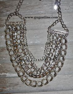 Giddy Up Glamour  $18.95  5 Chain Silver Necklace