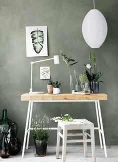 Sage green walls with desk and chair Decor, Gravity Home, Ikea Design, Home Office Design, Interior, Sage Green Walls, Ikea Workspace, Room Decor, Home Deco