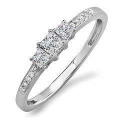 033 Carat ctw 14k White Gold Princess  Round Diamond Ladies 3 Stone Bridal Engagement Ring 13 CT Size 7 -- Read more at the image link-affiliate link. #Jewelry