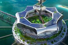 Grand Cancun eco island (2020) cleans up the ocean while generating renewable energy. Architect concept: Richard Moreta Castillo via @missmetaverse www.futuristmm.com