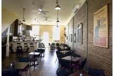 brick and wood coffee shops | Griffintown Café: exposed brick, embedded columns, sculptural sturdy ...
