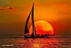 Gorgeous sunset at sea